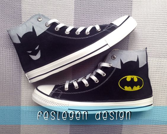 Batman Custom Painted Converse Shoes