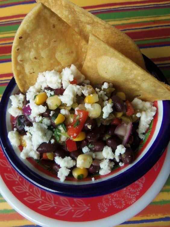Black Bean, Cactus and Corn Salsa with Queso Fresco | Corn ...