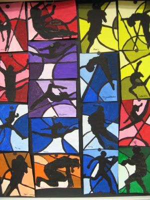 Clayton Elementary Art - want to do this with Winter Olympic project!