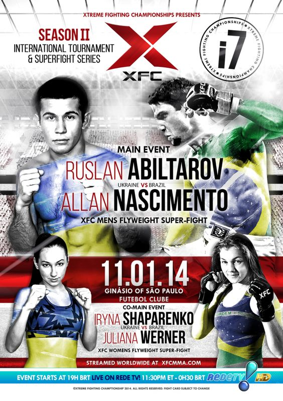 XFCi 7 November 1st 2014 Live on RedeTV! at Ginasio of Sao Paulo Futebol Clube #XFC #MMA #fall #superfight #tournament #WMMA #mainevent #XFCi7 #Brazil