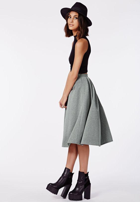 Auberta Pleated Midi Skirt Grey - Missguided