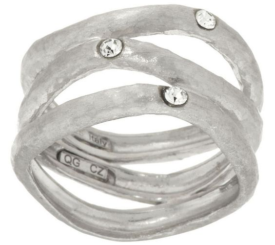 The beauty of threes. Each of the wavy rows of this Vicenza Silver ring sparkles with a burnish-set, round Diamonique(R) simulated diamond. QVC.com