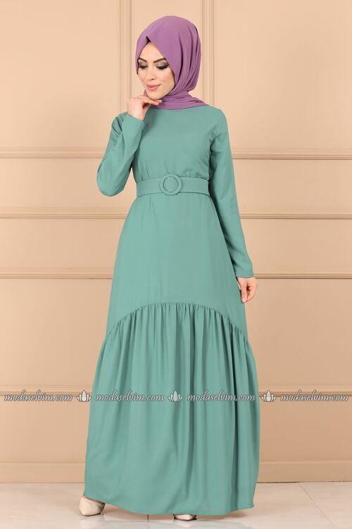 Modaselvim Elbise Kemerli Tesettur Elbise 8001mda386 Mint Elbise Basortusu Modasi The Dress