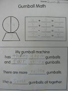 Here's a nice idea for making gumball machine drawings (see post for pictures) and using them to write fact families.