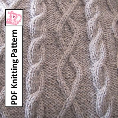 Knitting Pattern – Diamonds and Cable throw/afghan/blanket by:-LadyshipDesigns