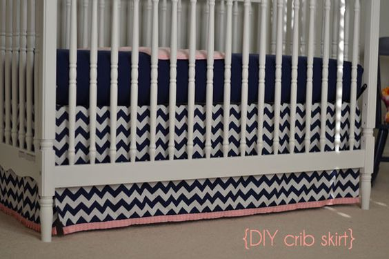 Really easy DIY crib skirt.... tied with ribbons and you would never know!