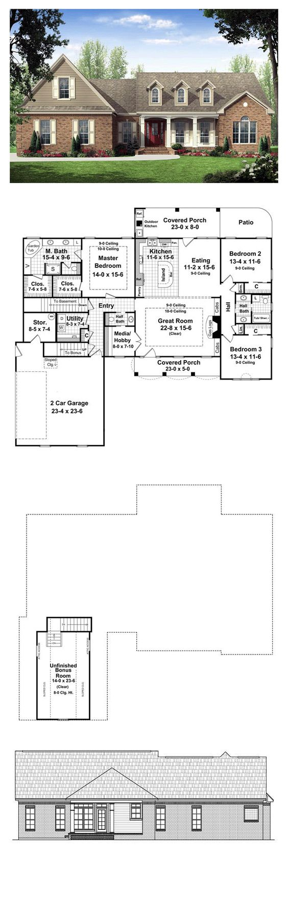 simple 3 bedroom house plans%0A Ranch Traditional House Plan         Traditional house plans  Traditional  house and Ranch