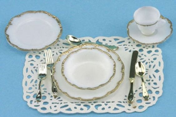 Dollhouse Miniature Chrysnbon One Place Setting- Silver Trim | eBay