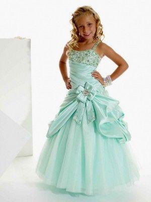 Ball Gown Sleeveless Spaghetti Straps Beading Floor-Length Satin Flower Girl Dresses - Flower Girl Dresses