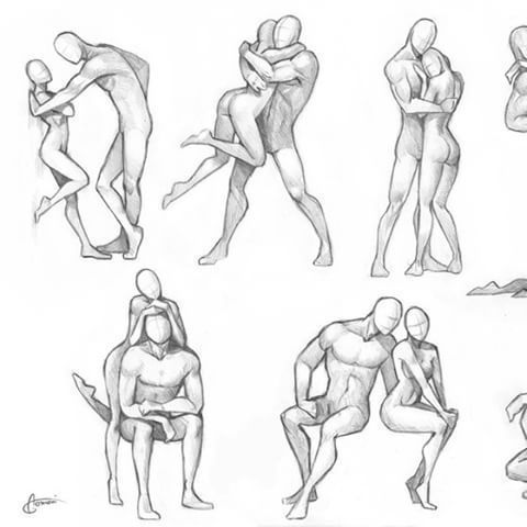 Human poses, correct setting  Volume and shadow Drawing