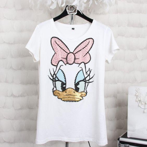 Donald Duck Print T Shirt Fd01 Zhenskaya Rubashka Zhenskie Futbolki Dizajner Odezhdy