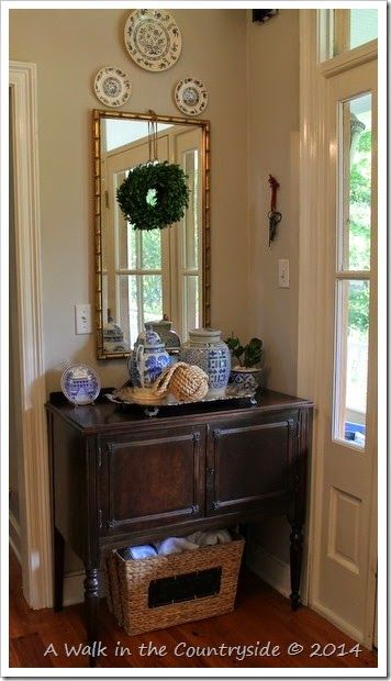 Foyer Updates using blue and white with a little coastal touch