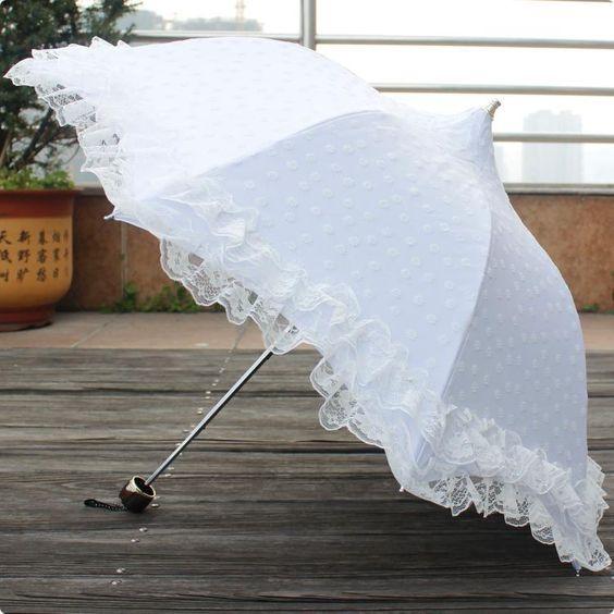 Lovely Princess White Lace Anti Uv Pagodas Parasol Lady Folding Rain Umbrella