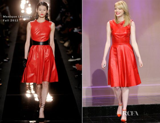 Emma Stone Iin Monique Lhuillier Fall 2012 and Christian Louboutin heels The Tonight Show With Jay Leno