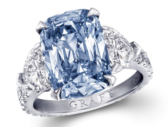Graff Fancy Vivid Blue Cushion Cut Diamond Ring