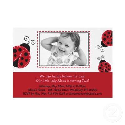 Trendy Red Ladybug Photo Birthday Invitations from http://www.zazzle.com/ladybug+birthday+gifts