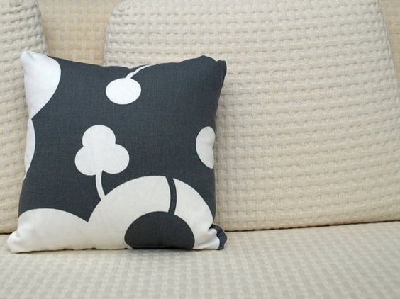 Small Grey/White Pillow Cover by Mignon on Etsy, $20.00