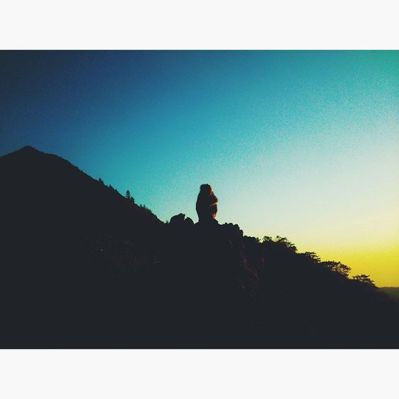 Tranquil view of a sunrise on the top of Batur Mountain, Kintamani, Bali, Indonesia