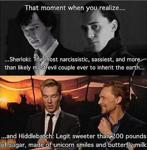 Had to pin this.  So funny...Benedict Cumberbatch and Tom Hiddleston.