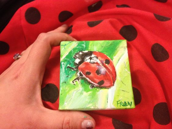 Tiny ladybird painting by Fran Norris