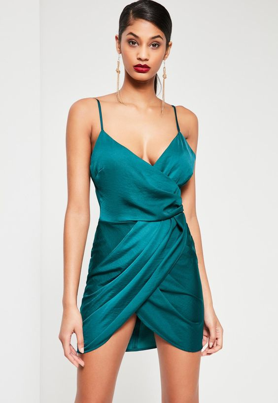Missguided - Teal Silky Wrap Dress