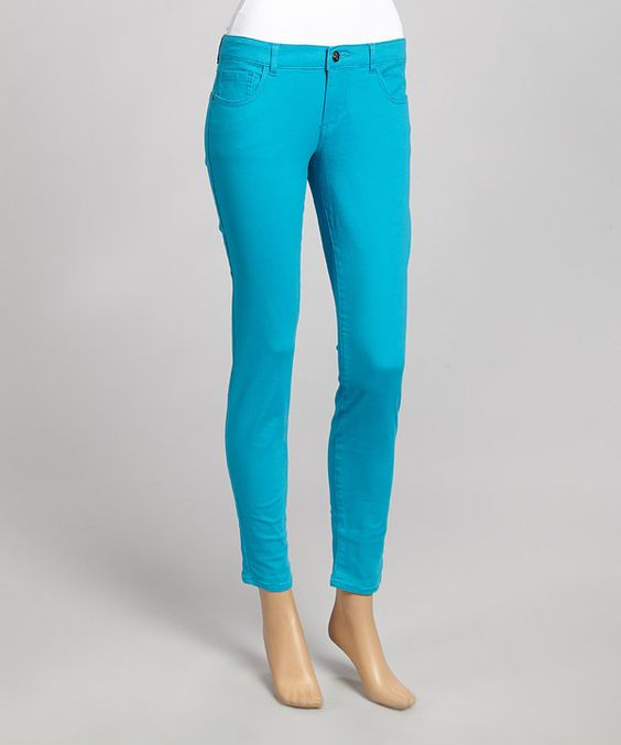 Another great find on #zulily! Turquoise Twill Skinny Pants by Western Trading Company #zulilyfinds