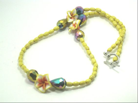 Polymer Clay Yellow Floral Bead Necklace by cynhumphrey on Etsy, $18.99