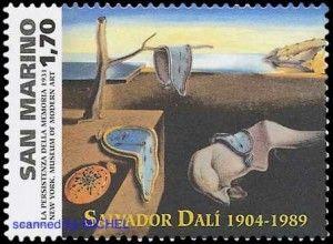 Salvador Dali:  Die Beständigkeit der Erinnerung auf Briefmarke von San Marino 2004