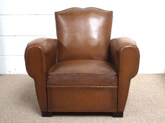 F660 - Superb Vintage French Leather Club Chair With Moustache Back - La Belle Étoffe