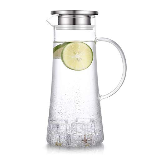 1 5 Liter 51 Ounces Glass Pitcher With Lid Covered Gallon Iced Tea Pitcher Lidded Water Jug Hot Cold Water Ice Tea Heat Resistant Glass Water Carafe Water Jug