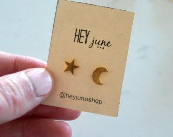 Sparkly star earrings star stud earrings gold by heyjuneshop