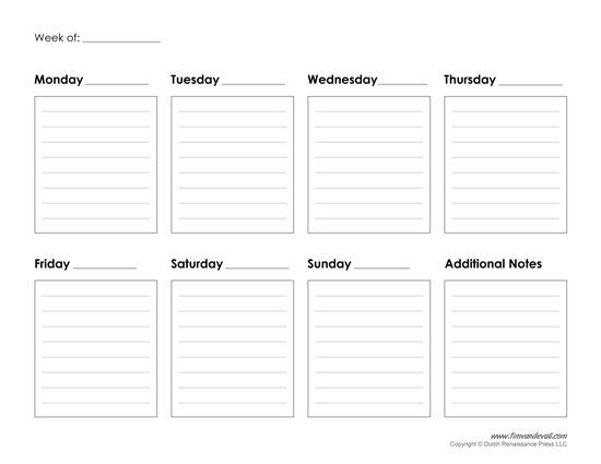 Weekly calendarpdf u2026 Pinteresu2026 - day to day planner template free