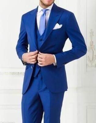 New Arrivals Two Buttons Royal Blue Groom Tuxedos Peak Lapel Groomsmen Best Man Suits Mens Wedding Suits Three PieceJacket+Pants+Vest+Tie Mens Tuxedo Trousers Mens Tuxedos Wedding Styles From Brucesuit, $140.21  Dhgate.Com
