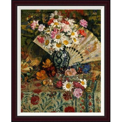 Global Gallery Still Life With a Fan by Georges Lemmen Framed Painting Print Size: