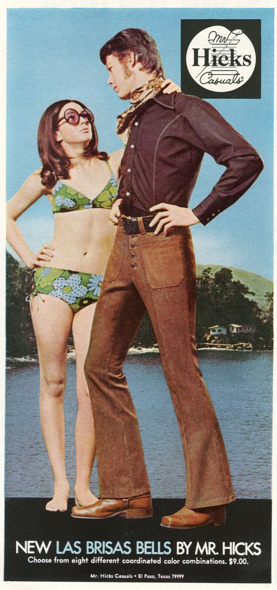 Early 70s advertisement for Las Brisas Bells pants by Mr. Hicks.