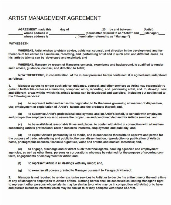 Artist Management Contract Template Luxury 12 Sample Artist Contract Templates To Download For Free Contract Template Artist Management Marketing Plan Template