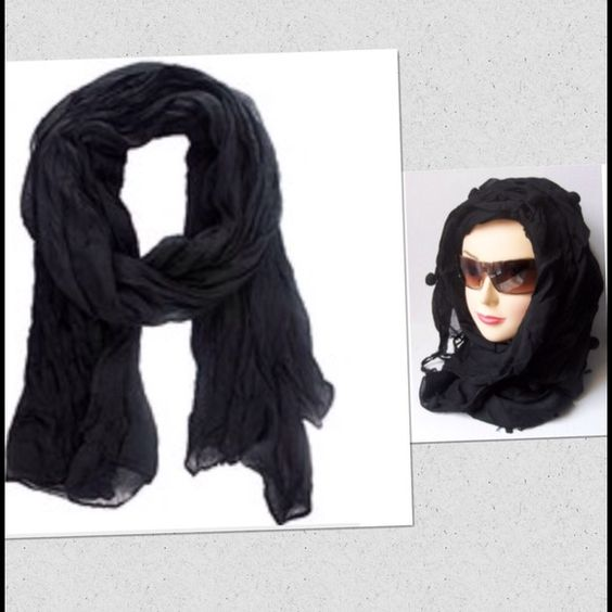 Crinkle Scarf Wrap Long crinkle scarf wrap. Soft shawl. Color black. New! Boutique Accessories Scarves & Wraps