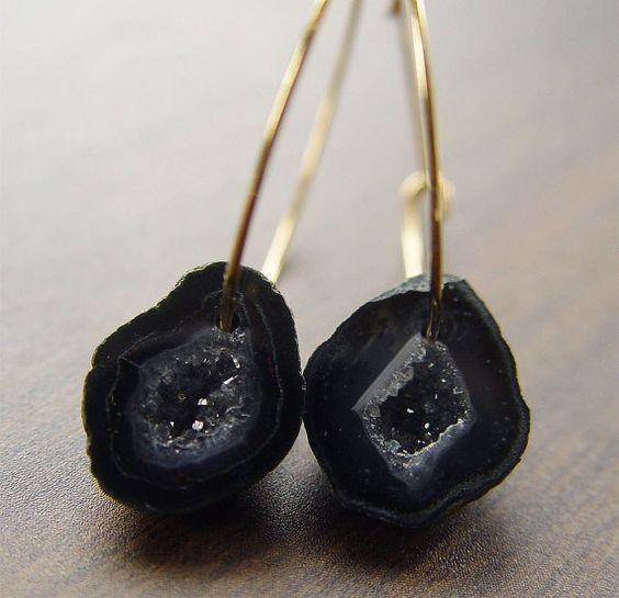 Perfect Pair:   Black Agate Druzy Earrings in 14k gold by friedasophie on Etsy, $98.00