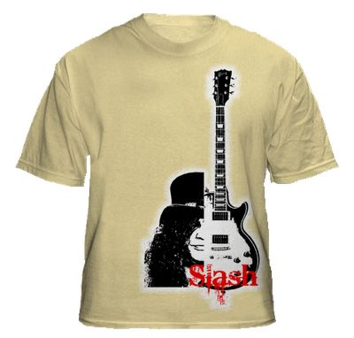 Design shirts with a picture of slash and guitar