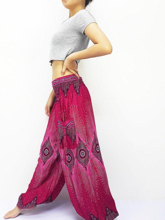 Vrouwen broek broek Yoga broek Aladdin broeken Maxi broek Boho broek Gypsy broek Rayon broek kleding broek warm roze (TS154)