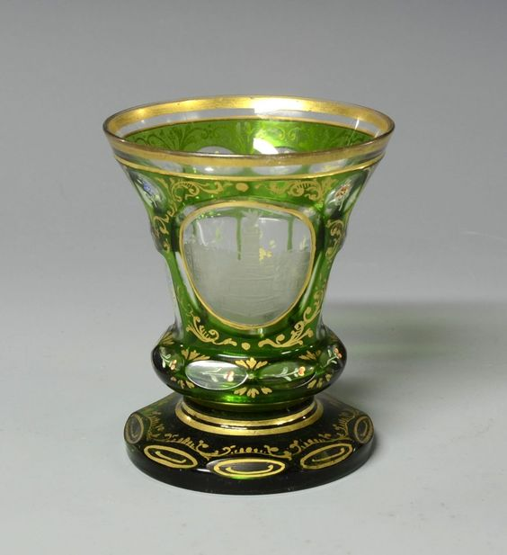 ❤ - Green Overlay Beaker - Green Glass Ove Clear With Various Facet-Cuts To Body And Base, Wheel-Cut Scene, Enamel Floral Decoration With Ornamental Gilding - Bohemian  c. 1900