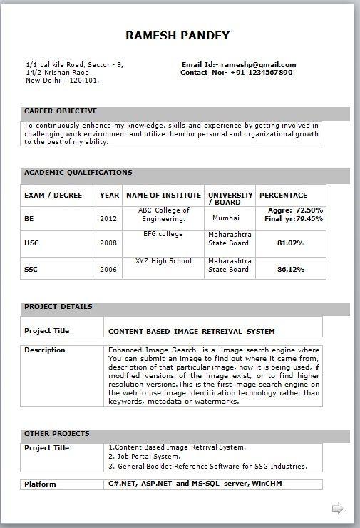 A Resume Format For Fresher In 2020 Best Resume Format Resume