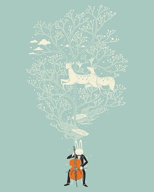 bunny playing cello with deer:
