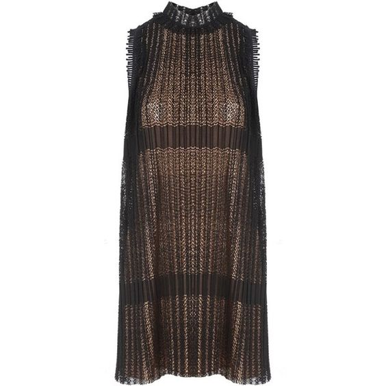 Alexis Becca Dress (2.565 RON) ❤ liked on Polyvore featuring dresses, special occasion dresses, flounce dress, transparent dress, little black cocktail dresses and brown cocktail dress