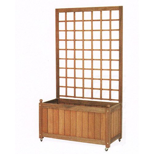 Wooden Planter Boxes | Wooden Trellis Back Planter Box: Gardening U0026 Lawn  Care :