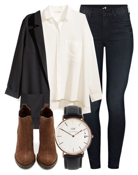 """""""Untitled #4520"""" by laurenmboot ❤ liked on Polyvore featuring Mother, H&M, Shoe Cult and Daniel Wellington"""