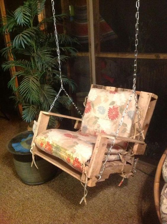 40 diy pallet swing ideas chair bed outdoor pallet and for Outdoor pallet swing bed