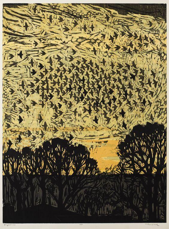 """Migration, 32"""" x 24"""" color woodcut by Kent Ambler:"""