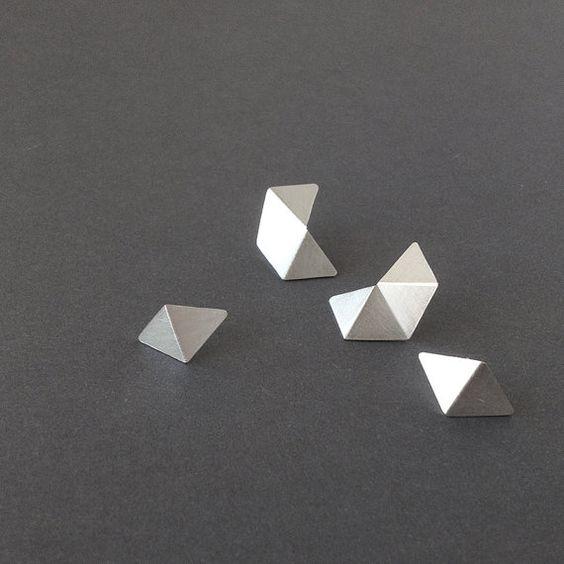 Set of 4 Stud Silver Earrings, Geometric Stud Earrings Set, Minimalist Silver…