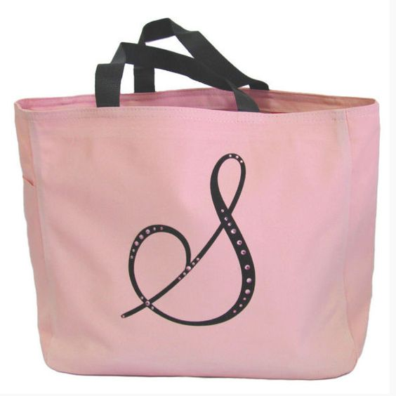 Elegant Print and Rhinestone Monogram Canvas Tote